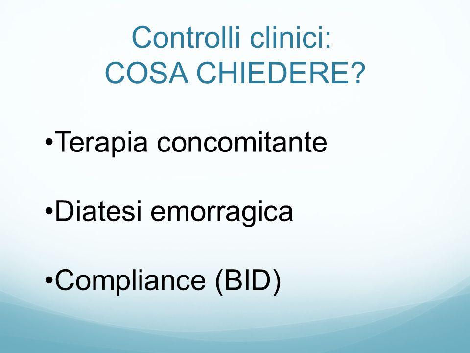 Controlli clinici: COSA CHIEDERE Terapia concomitante