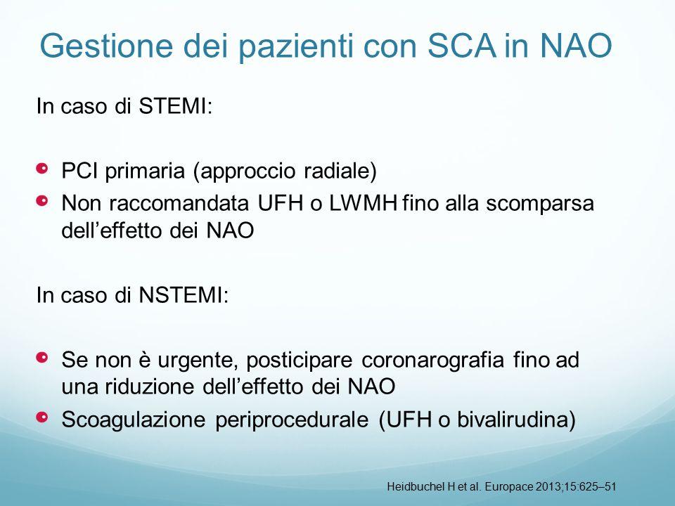 Gestione dei pazienti con SCA in NAO