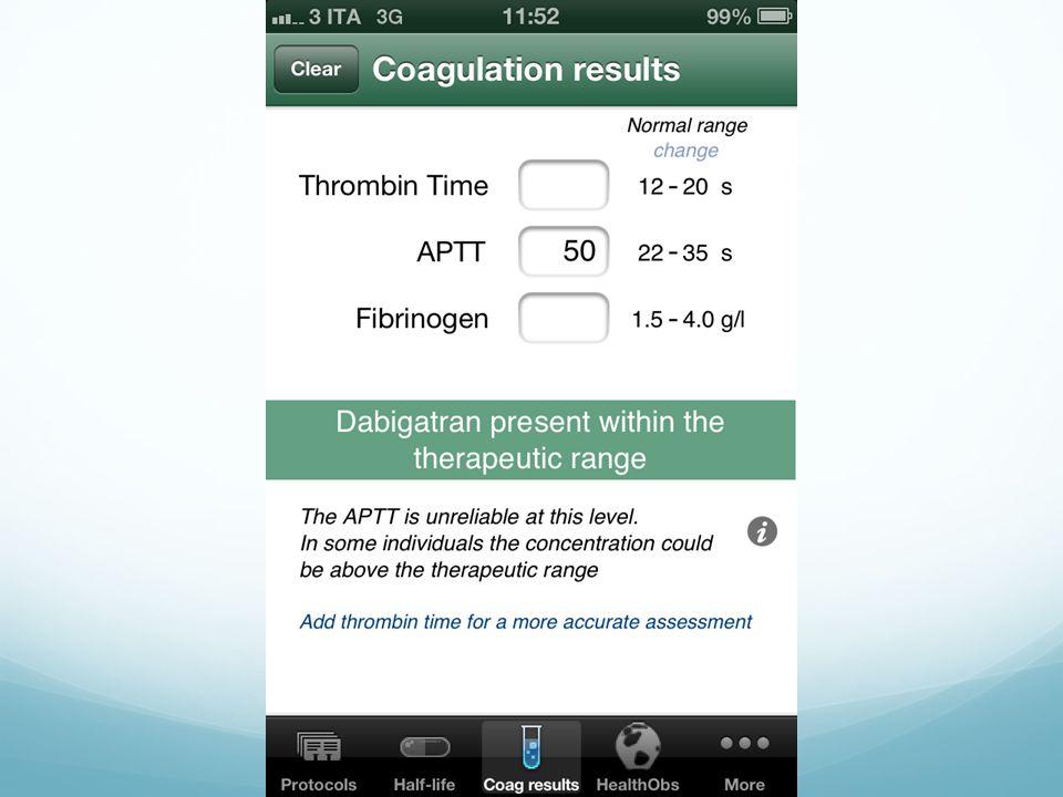 In base ai valori utili della coagulazione ti dice quali sono le probabili concentrazioni di dabigatran