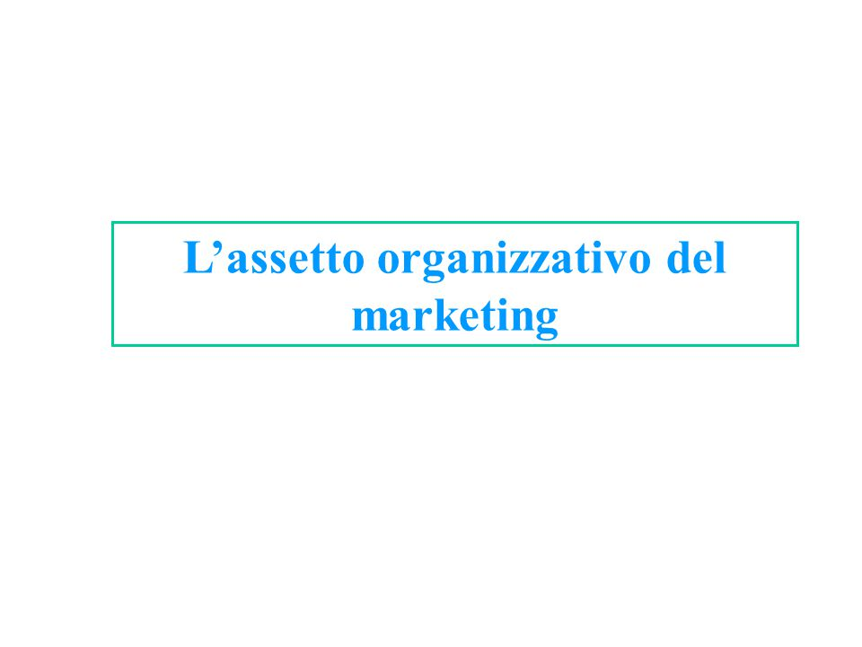 L'assetto organizzativo del marketing