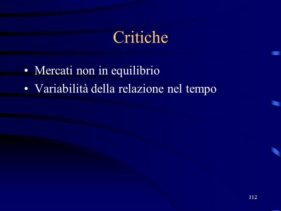 Critiche Mercati non in equilibrio