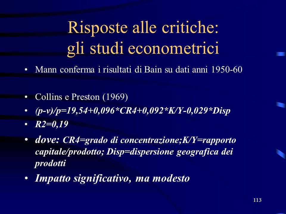 Risposte alle critiche: gli studi econometrici