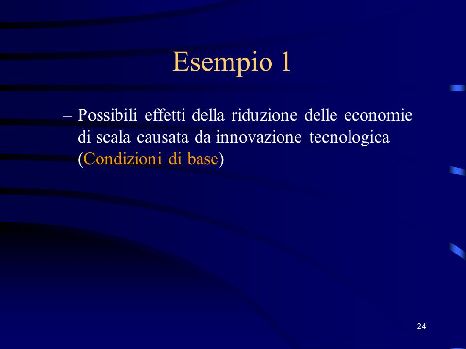 Esempio 1 Possibili effetti della riduzione delle economie di scala causata da innovazione tecnologica (Condizioni di base)