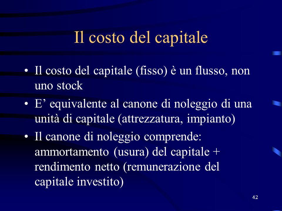 Il costo del capitale Il costo del capitale (fisso) è un flusso, non uno stock.