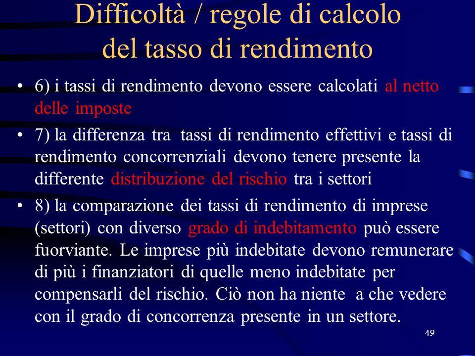 Difficoltà / regole di calcolo del tasso di rendimento
