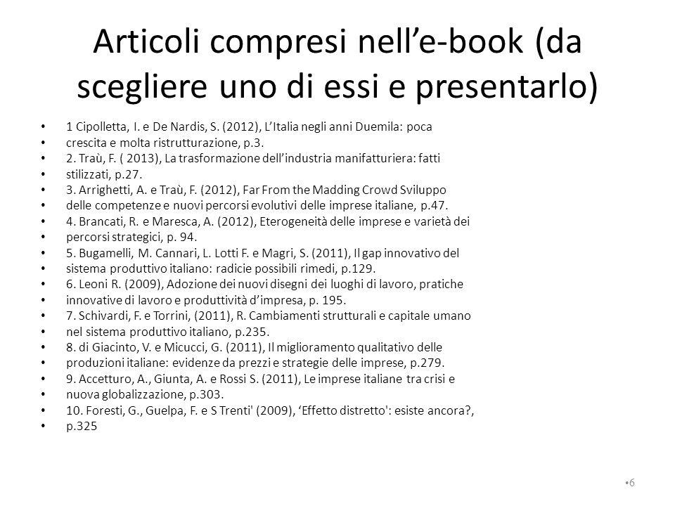 Articoli compresi nell'e-book (da scegliere uno di essi e presentarlo)