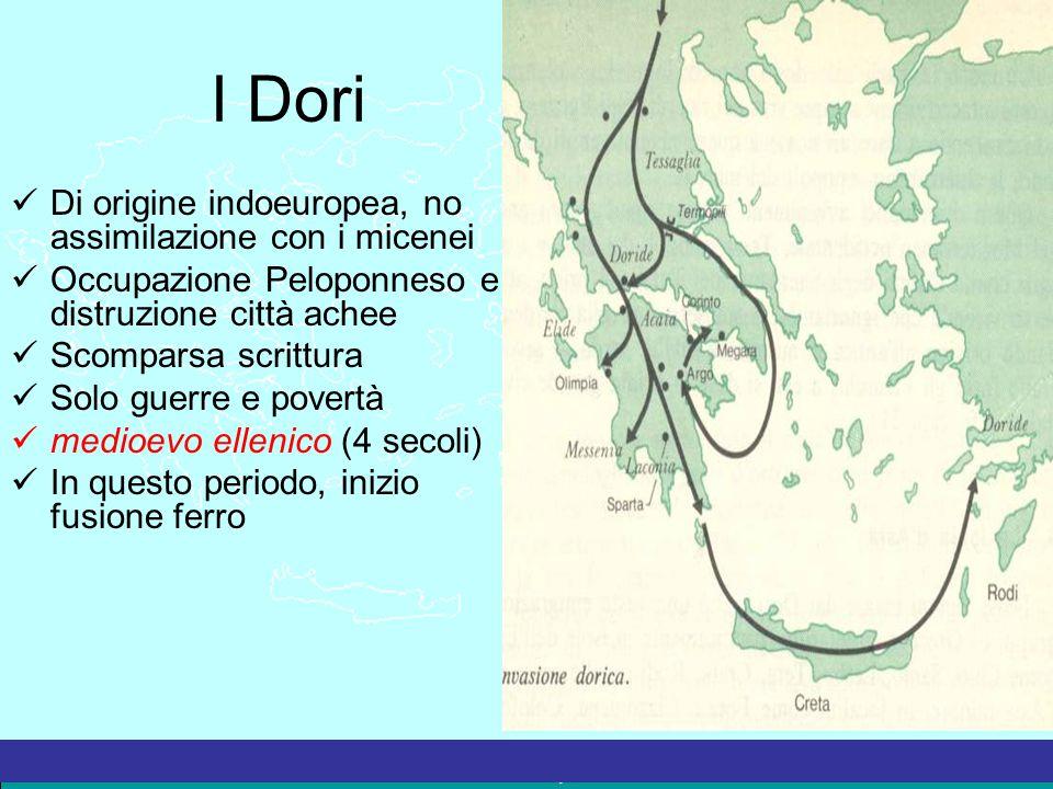 I Dori Di origine indoeuropea, no assimilazione con i micenei