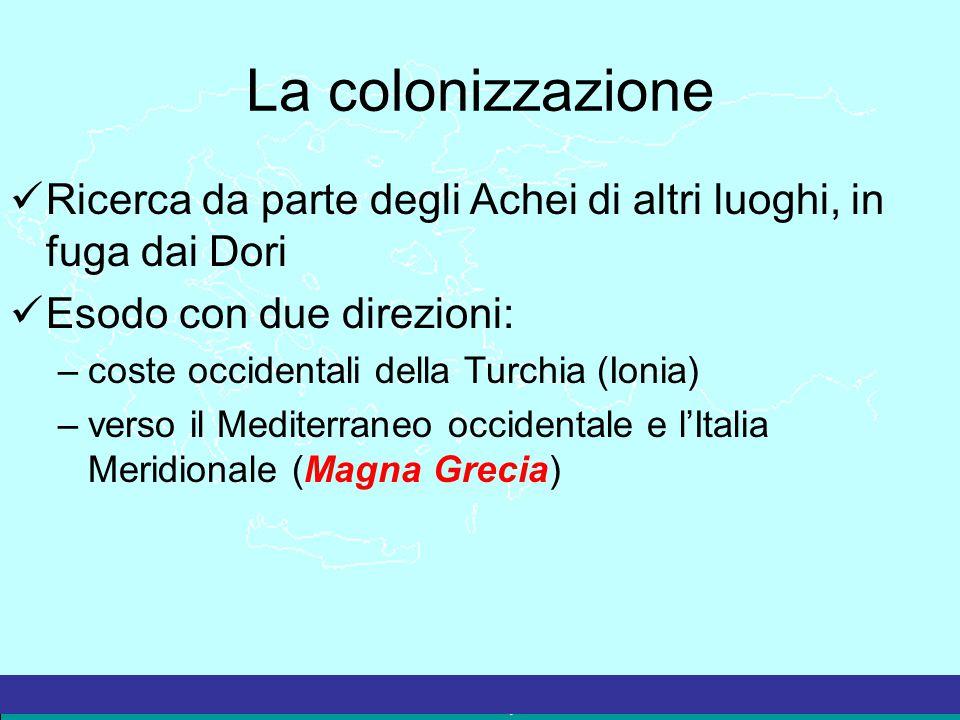 La colonizzazione Ricerca da parte degli Achei di altri luoghi, in fuga dai Dori. Esodo con due direzioni: