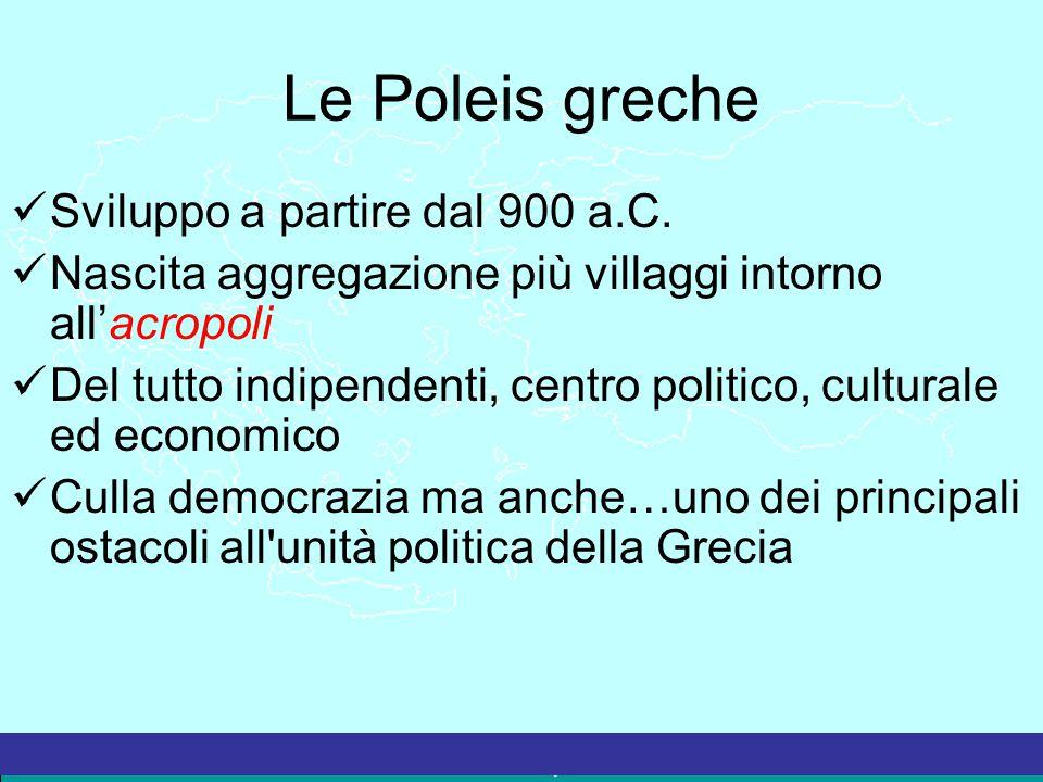 Le Poleis greche Sviluppo a partire dal 900 a.C.