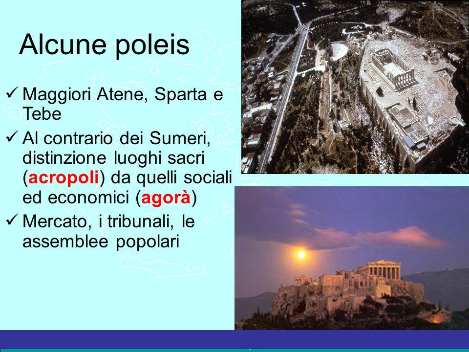 Alcune poleis Maggiori Atene, Sparta e Tebe