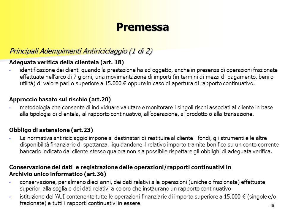 Principali Adempimenti Antiriciclaggio (1 di 2)