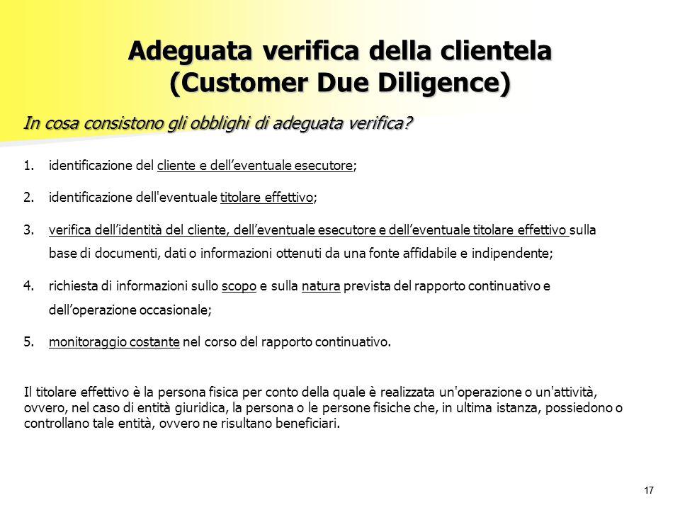 Adeguata verifica della clientela (Customer Due Diligence)