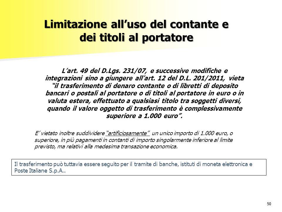 Limitazione all'uso del contante e dei titoli al portatore