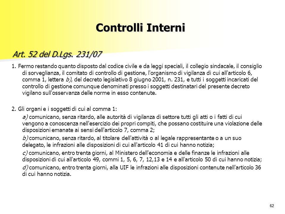 Controlli Interni Art. 52 del D.Lgs. 231/07