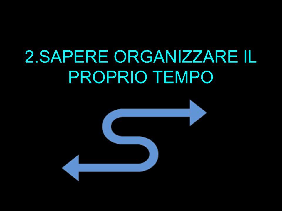 2.SAPERE ORGANIZZARE IL PROPRIO TEMPO