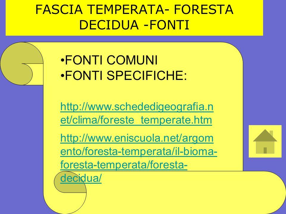 FASCIA TEMPERATA- FORESTA DECIDUA -FONTI