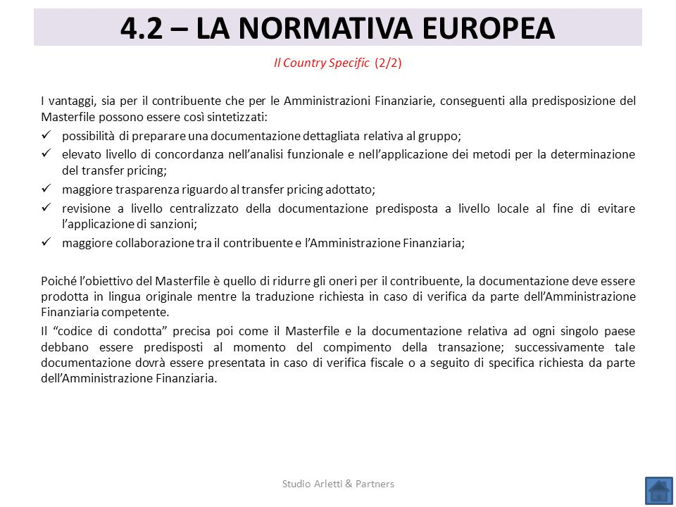 4.2 – LA NORMATIVA EUROPEA Il Country Specific (2/2)