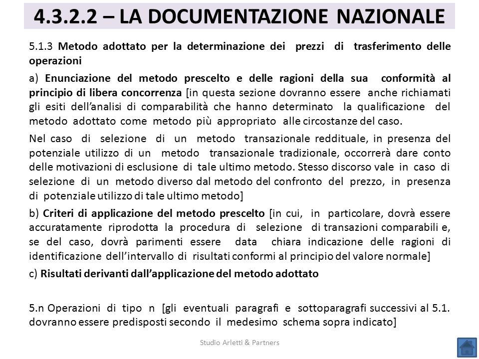4.3.2.2 – LA DOCUMENTAZIONE NAZIONALE
