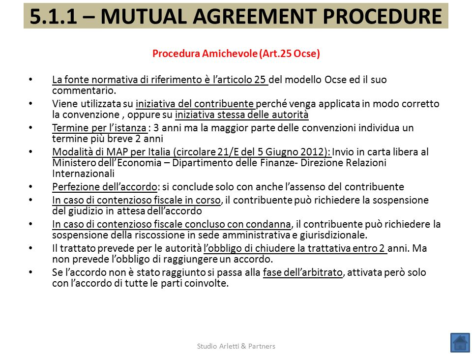 5.1.1 – MUTUAL AGREEMENT PROCEDURE Procedura Amichevole (Art.25 Ocse)