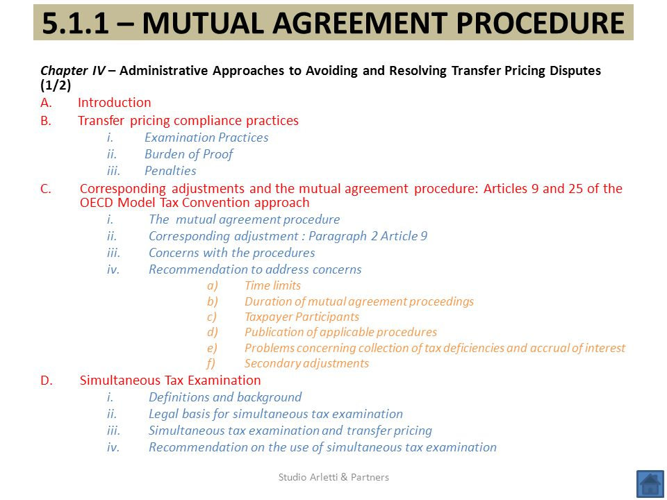 5.1.1 – MUTUAL AGREEMENT PROCEDURE