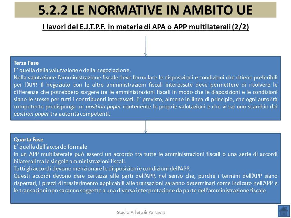 I lavori del E.J.T.P.F. in materia di APA o APP multilaterali (2/2)