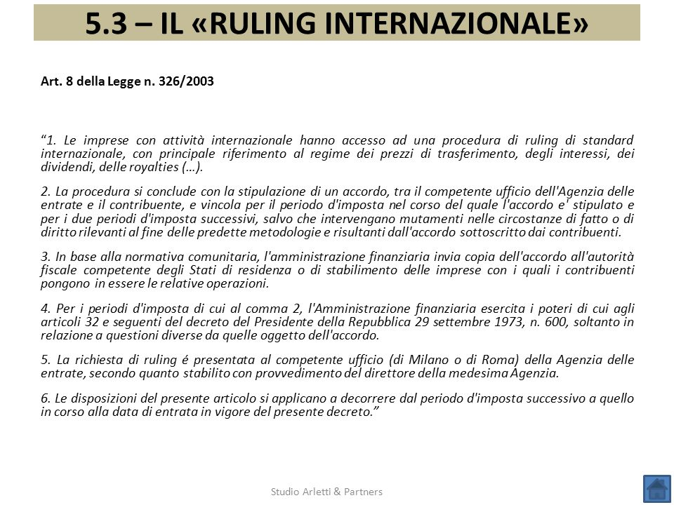 5.3 – IL «RULING INTERNAZIONALE»