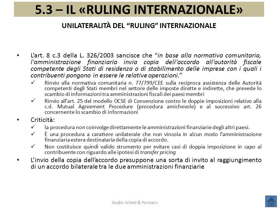 UNILATERALITÀ DEL RULING INTERNAZIONALE