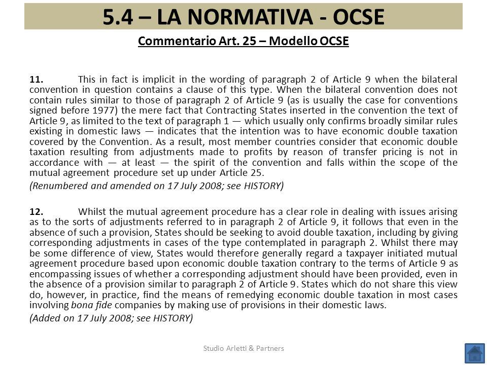 Commentario Art. 25 – Modello OCSE