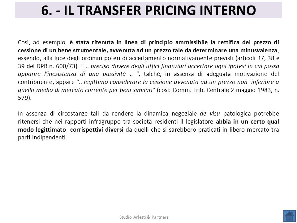 6. - IL TRANSFER PRICING INTERNO