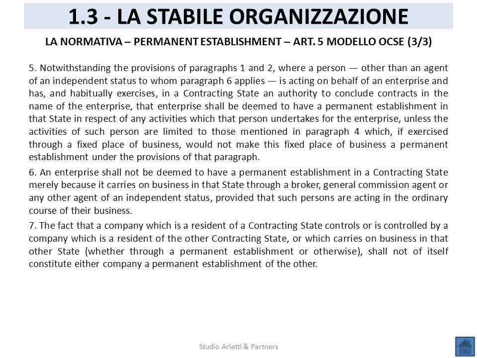 1.3 - LA STABILE ORGANIZZAZIONE