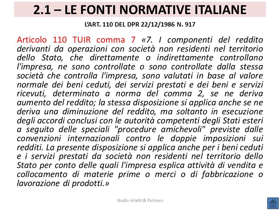 2.1 – LE FONTI NORMATIVE ITALIANE