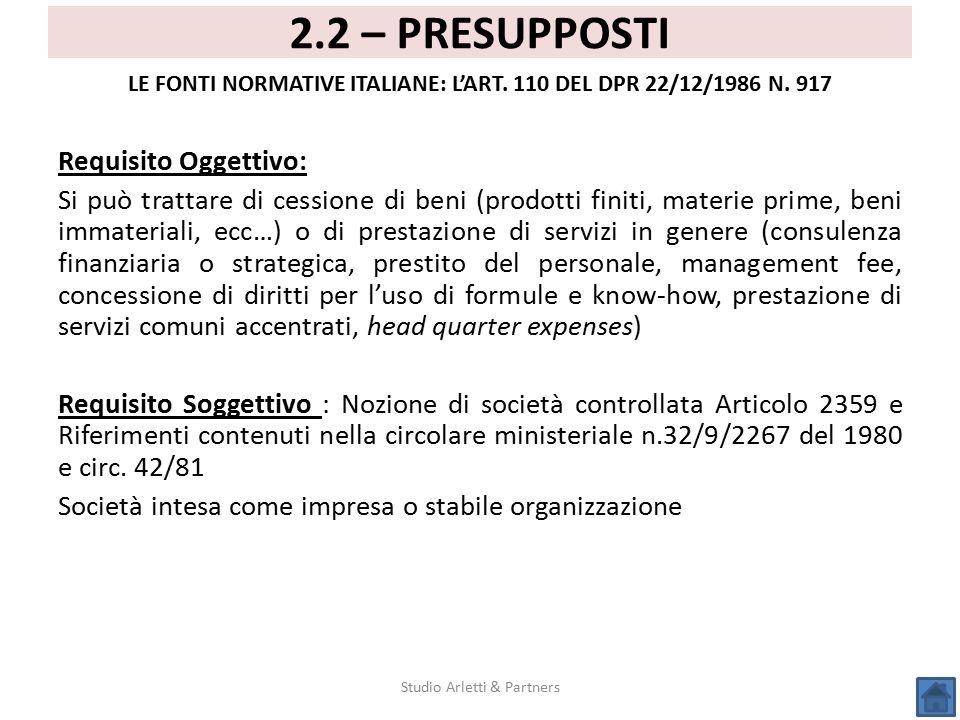 LE FONTI NORMATIVE ITALIANE: L'ART. 110 DEL DPR 22/12/1986 N. 917
