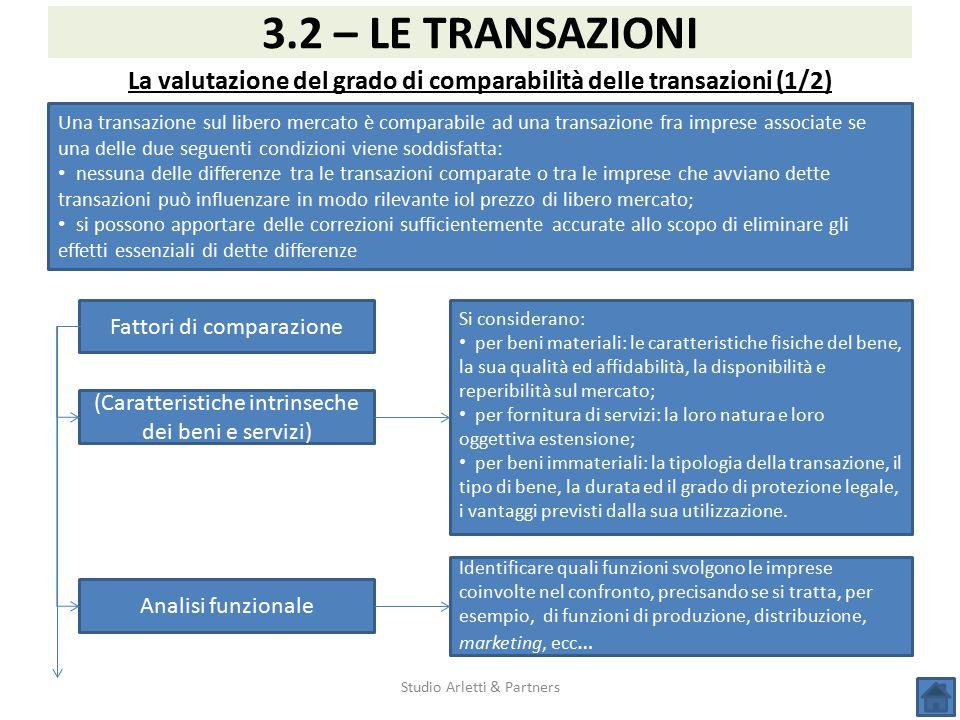 La valutazione del grado di comparabilità delle transazioni (1/2)