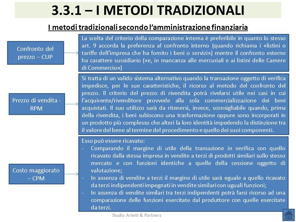 I metodi tradizionali secondo l'amministrazione finanziaria