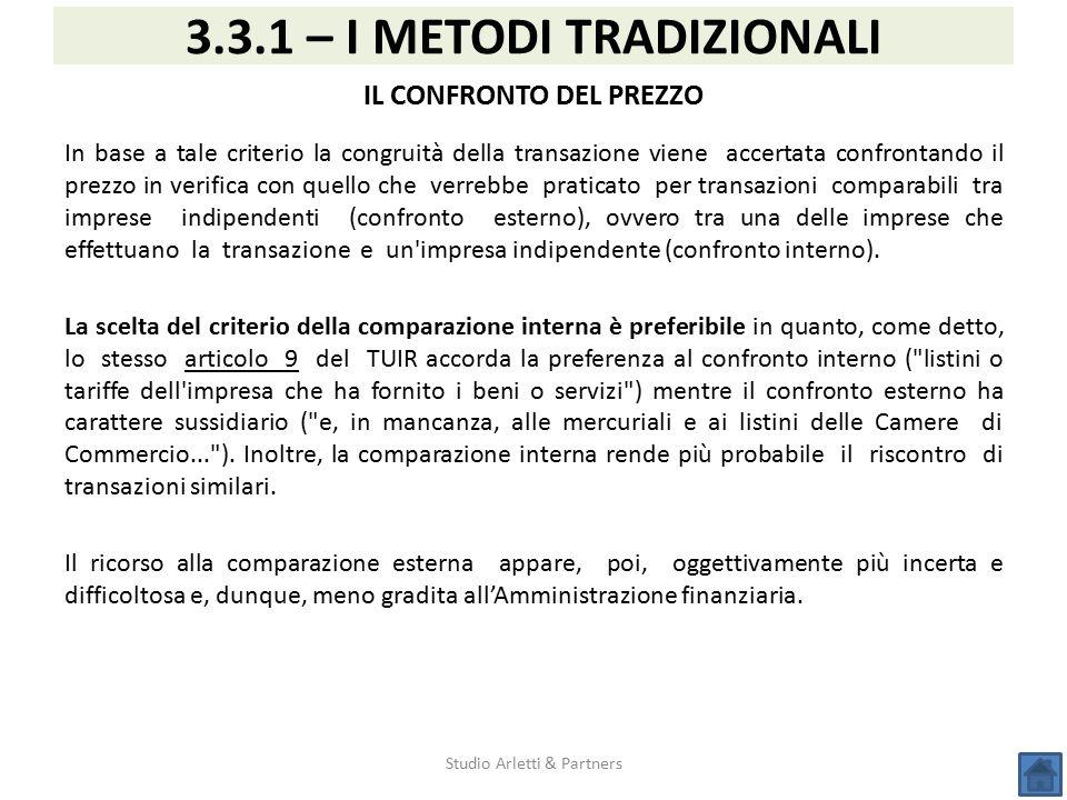 3.3.1 – I METODI TRADIZIONALI IL CONFRONTO DEL PREZZO