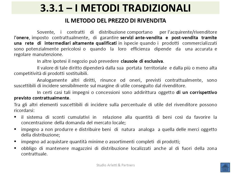 3.3.1 – I METODI TRADIZIONALI IL METODO DEL PREZZO DI RIVENDITA