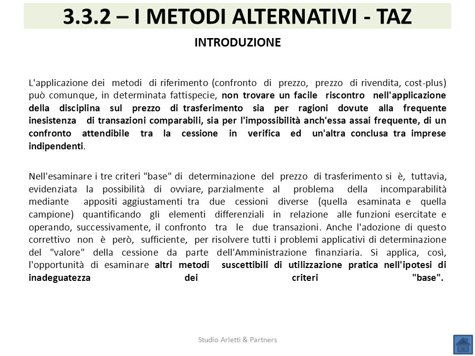 3.3.2 – I METODI ALTERNATIVI - TAZ