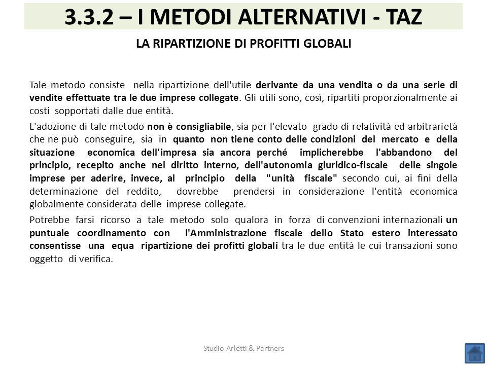 3.3.2 – I METODI ALTERNATIVI - TAZ LA RIPARTIZIONE DI PROFITTI GLOBALI