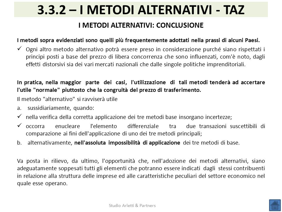 3.3.2 – I METODI ALTERNATIVI - TAZ I METODI ALTERNATIVI: CONCLUSIONE