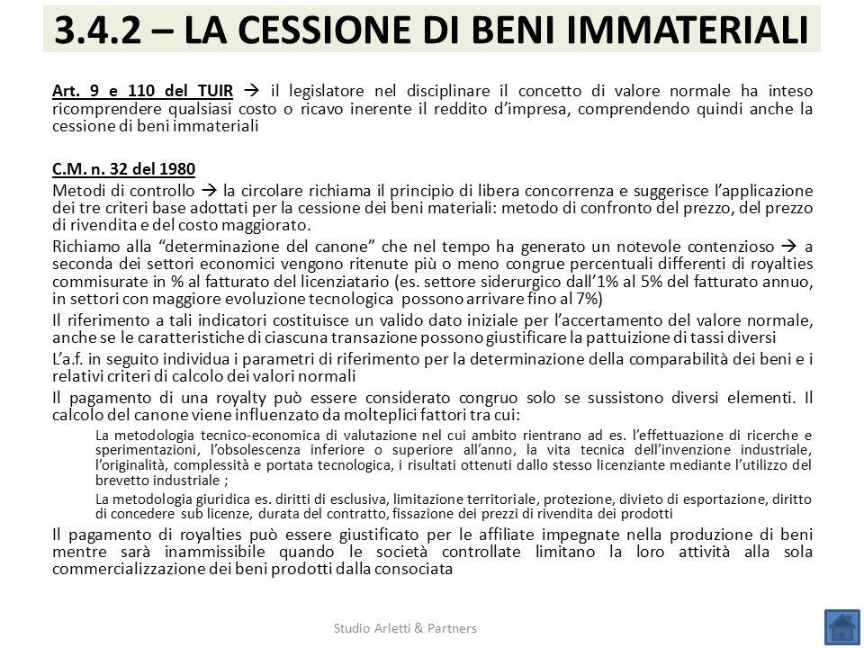 3.4.2 – LA CESSIONE DI BENI IMMATERIALI