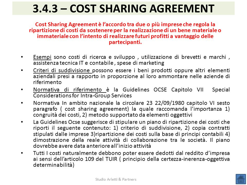 3.4.3 – COST SHARING AGREEMENT
