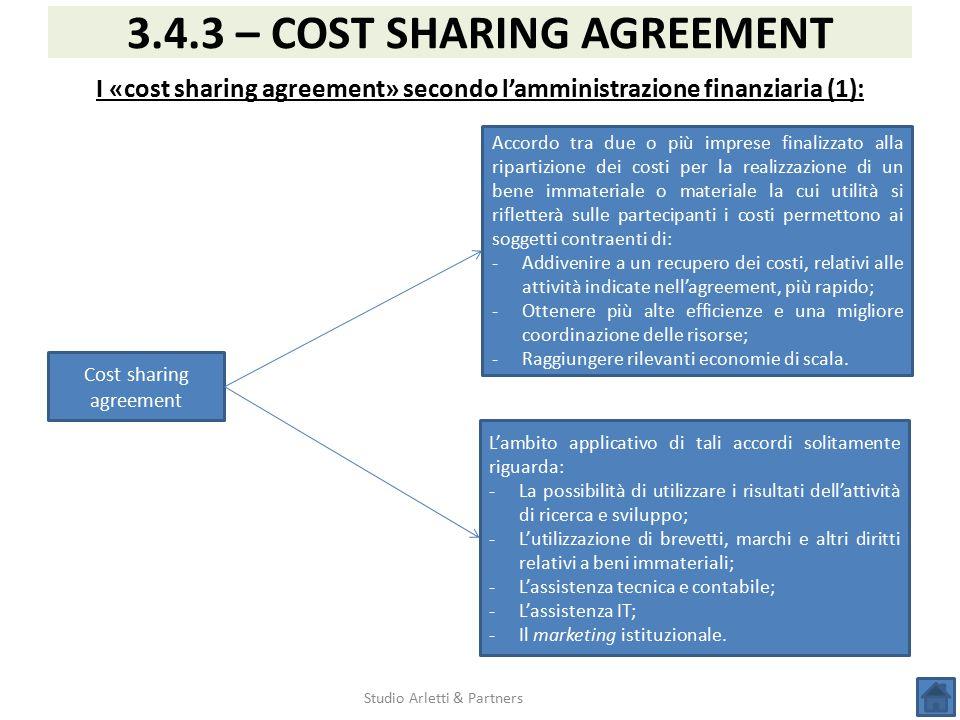 I «cost sharing agreement» secondo l'amministrazione finanziaria (1):