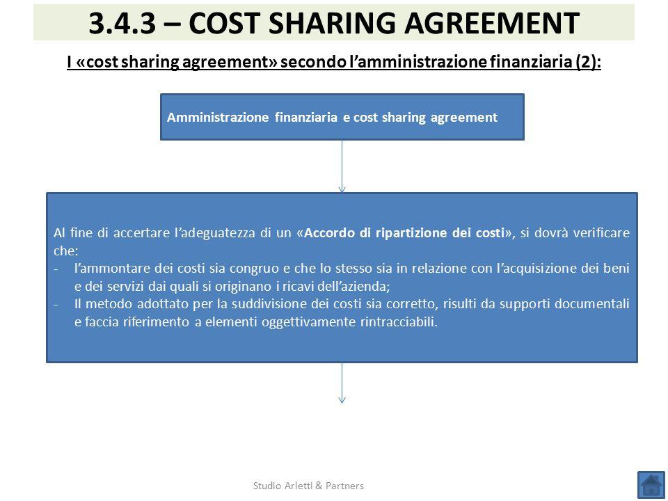 I «cost sharing agreement» secondo l'amministrazione finanziaria (2):