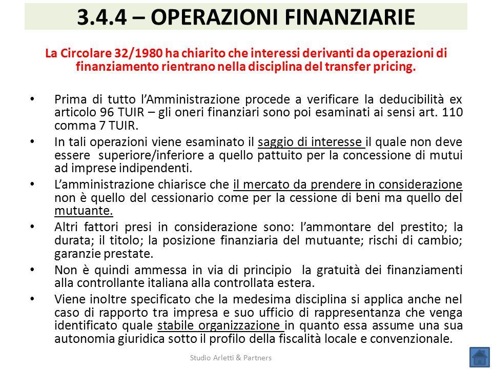 3.4.4 – OPERAZIONI FINANZIARIE