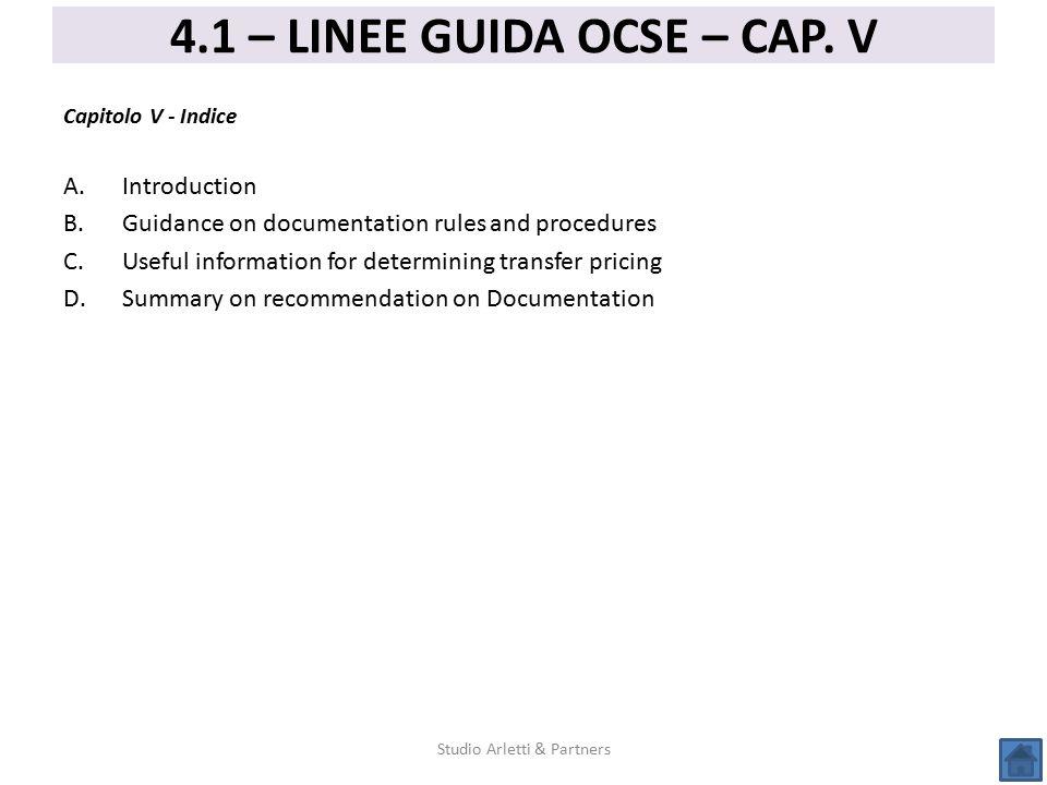 4.1 – LINEE GUIDA OCSE – CAP. V