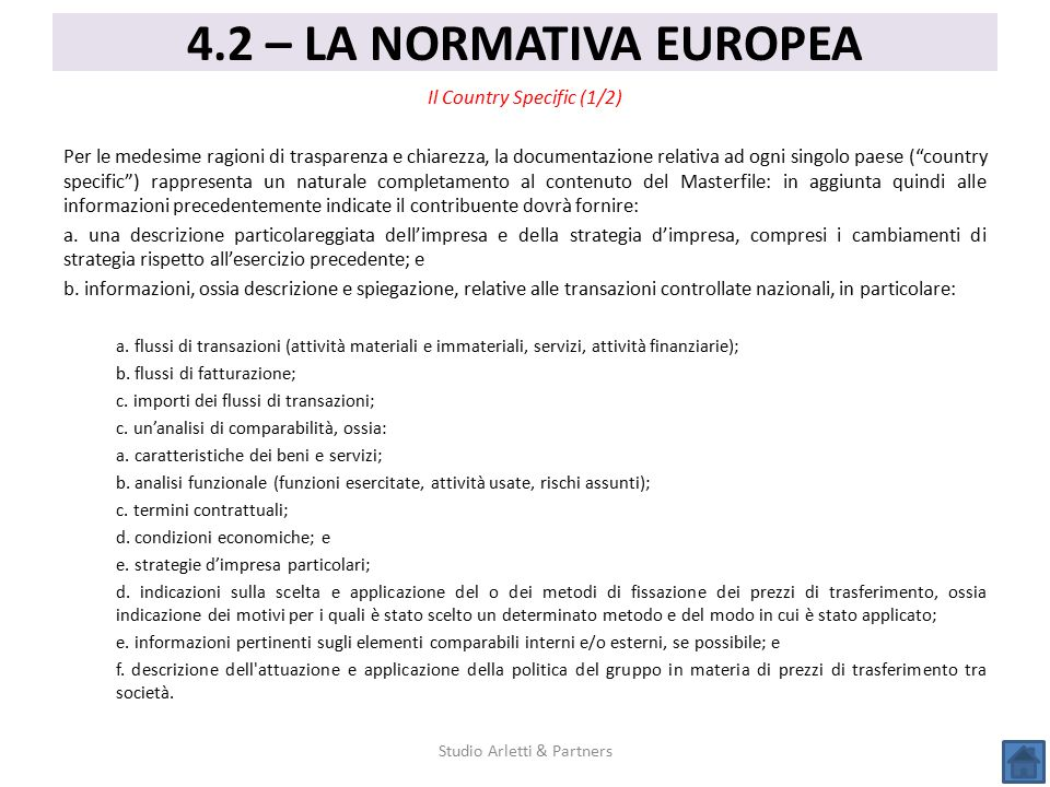 4.2 – LA NORMATIVA EUROPEA Il Country Specific (1/2)