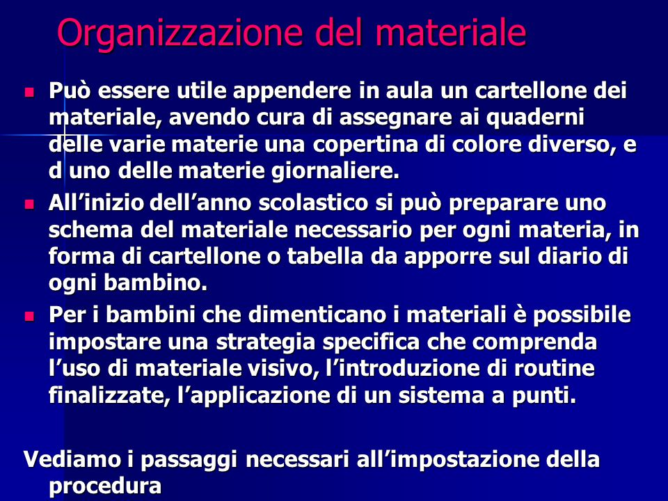 Organizzazione del materiale