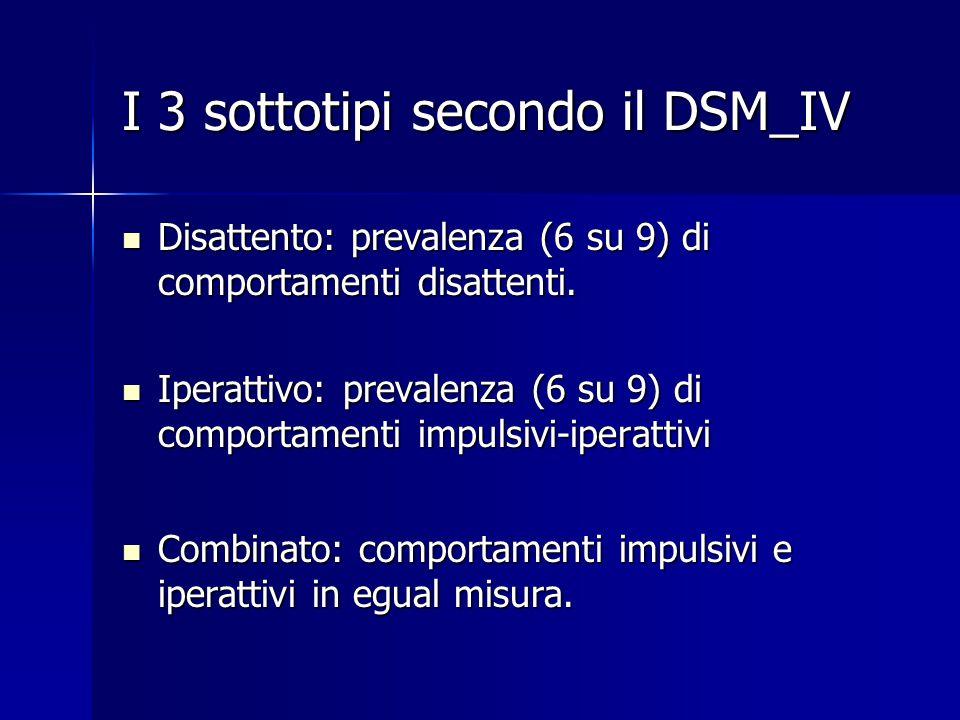 I 3 sottotipi secondo il DSM_IV