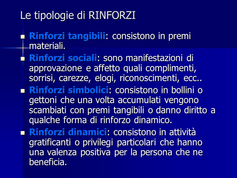 Le tipologie di RINFORZI