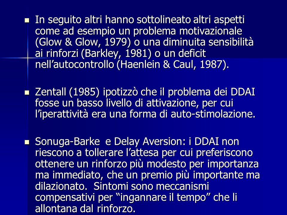In seguito altri hanno sottolineato altri aspetti come ad esempio un problema motivazionale (Glow & Glow, 1979) o una diminuita sensibilità ai rinforzi (Barkley, 1981) o un deficit nell'autocontrollo (Haenlein & Caul, 1987).